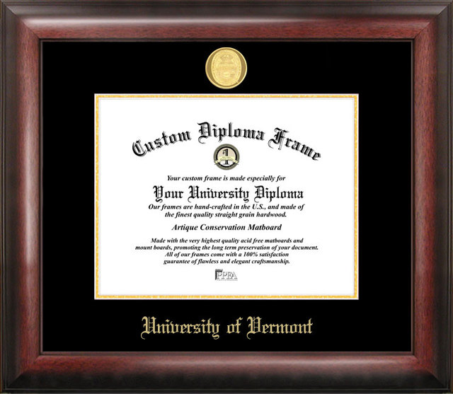 University of Vermont Gold Embossed Diploma Frame