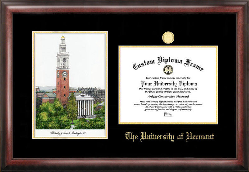 University of Vermont Gold embossed diploma frame with Campus Images lithograph