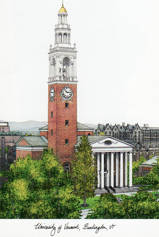 University of Vermont Campus Images Lithograph Print