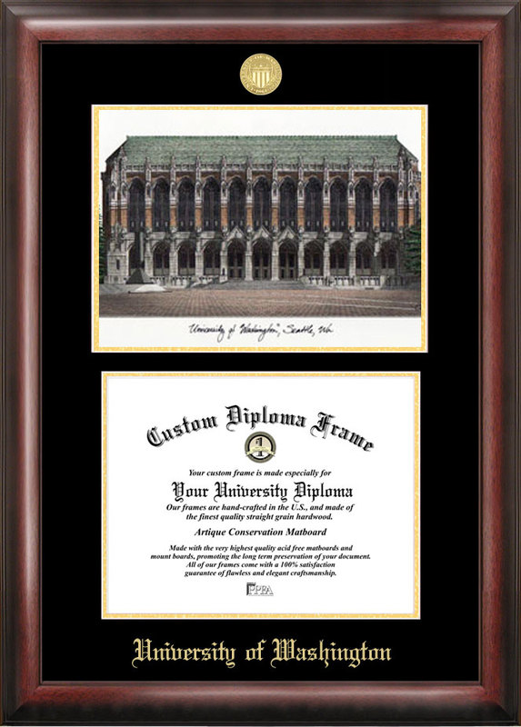 University of Washington Gold embossed diploma frame with Campus Images lithograph