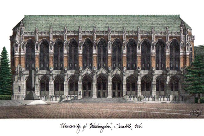 University of Washington Campus Images Lithograph Print