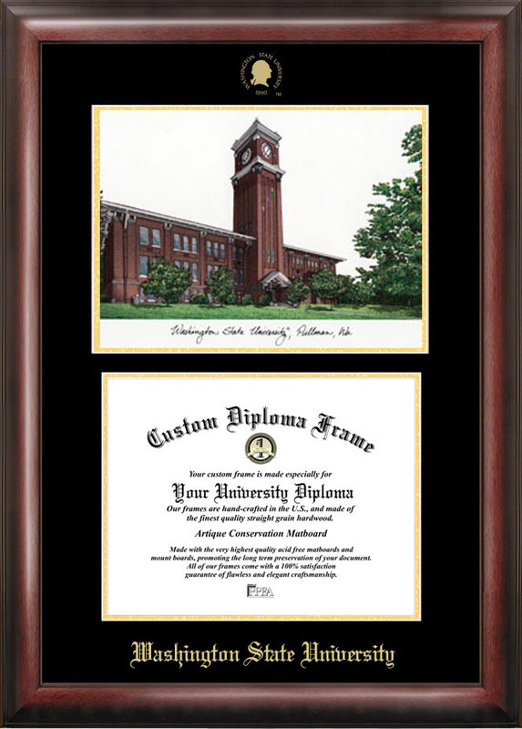 Washington State University Gold embossed diploma frame with Campus Images lithograph