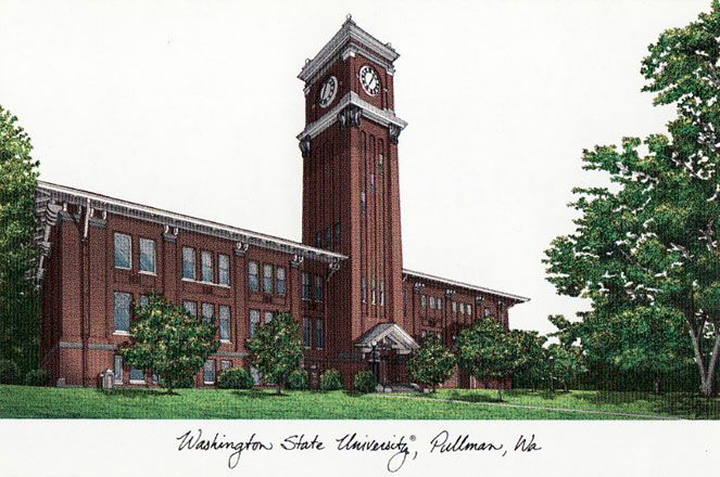 Washington State University Campus Images Lithograph Print