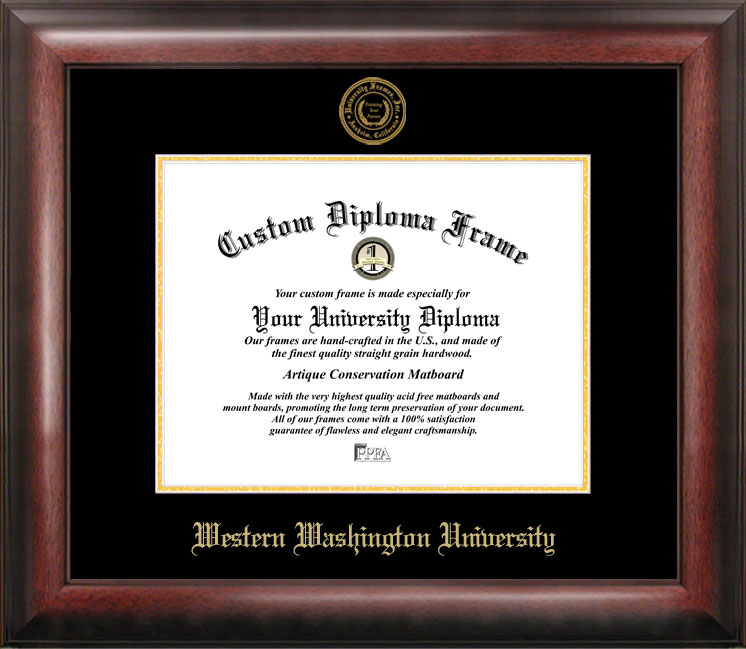 Western Washington University Gold Embossed Diploma Frame