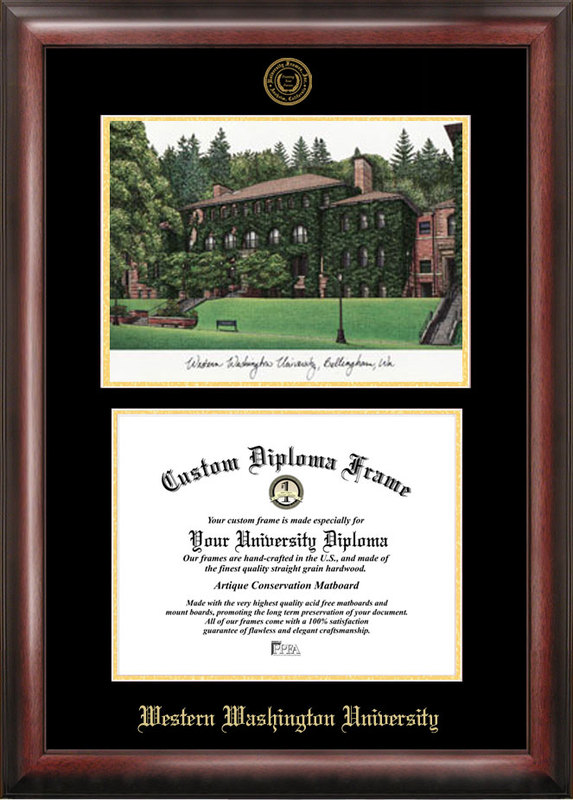 Western Washington University Gold embossed diploma frame with Campus Images lithograph