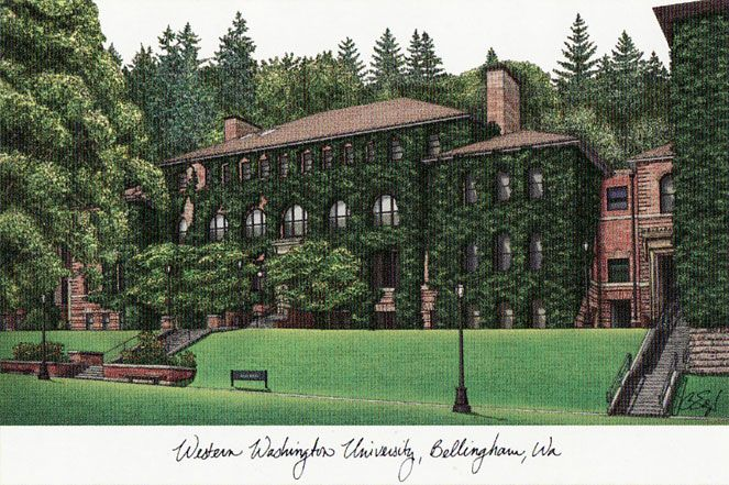 Western Washington University Campus Images Lithograph Print