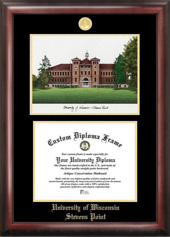 University of Wisconsin Gold embossed diploma frame with Campus Images lithograph