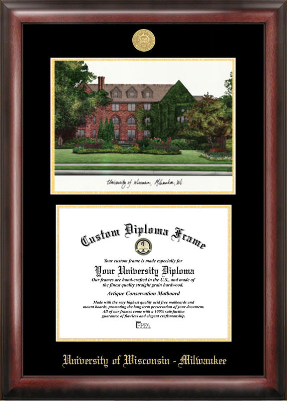 University of Wisconsin , Milwaukee Gold embossed diploma frame with Campus Images lithograph