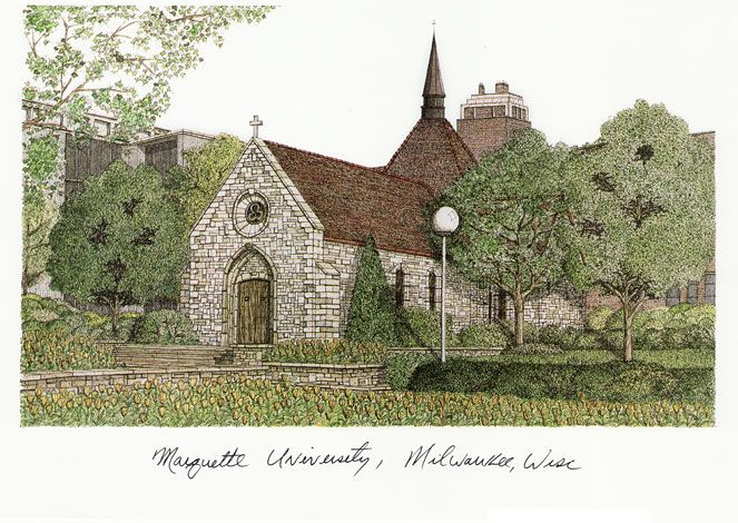 Marquette University Campus Images Lithograph Print