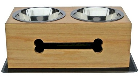 PetsStop Wooden Bone Elevated Dog Bowls - Large - WRDB1-L