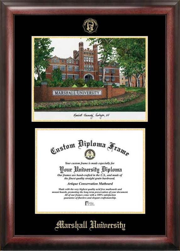 Marshall University Gold embossed diploma frame with Campus Images lithograph