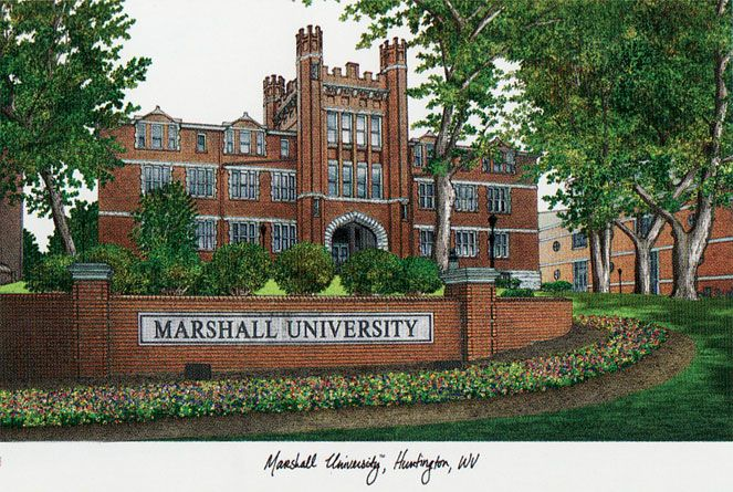 Marshall University Campus Images Lithograph Print