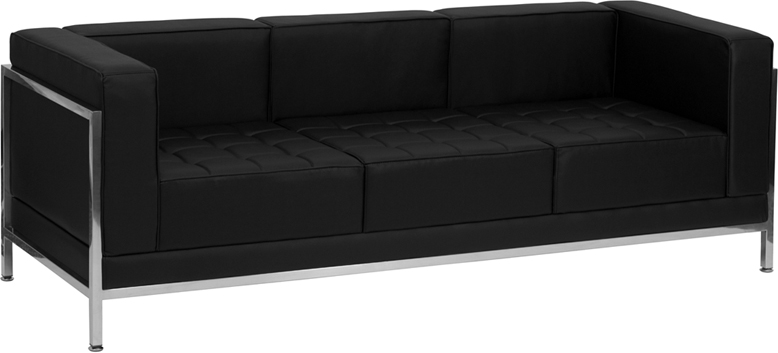 HERCULES Imagination Series Contemporary Black Leather Sofa with Encasing Frame