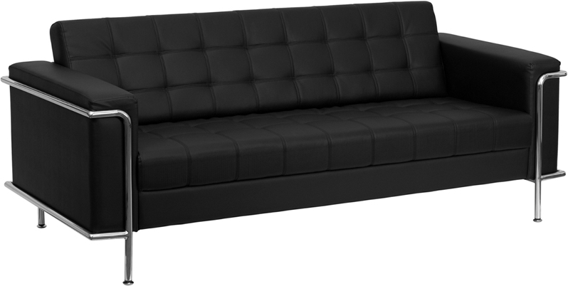 HERCULES Lesley Series Contemporary Black Leather Sofa with Encasing Frame