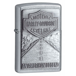 Zippo Street Chrome, Harley Davidson USA Shield & Legend Emblem - ZI20229