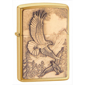 Zippo Brushed Brass, Where Eagles Dare Emblem - ZI20854